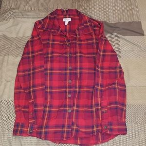 Long sleeved flannel shirt boys size 12/14